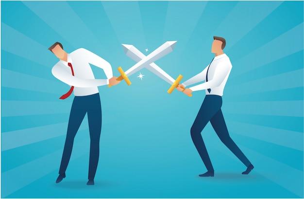Uomo d'affari che combatte con le spade Vettore Premium