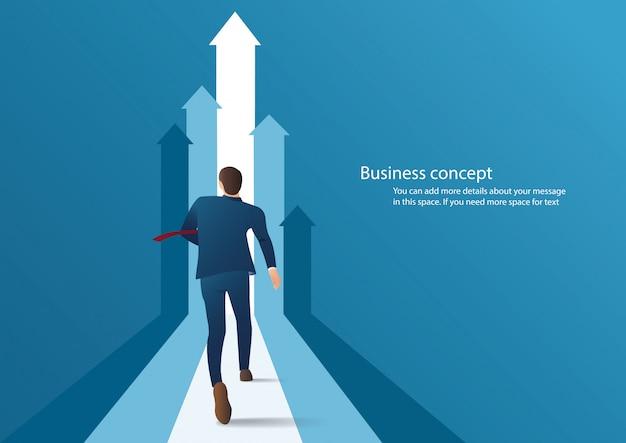 Uomo d'affari che corre verso il successo Vettore Premium