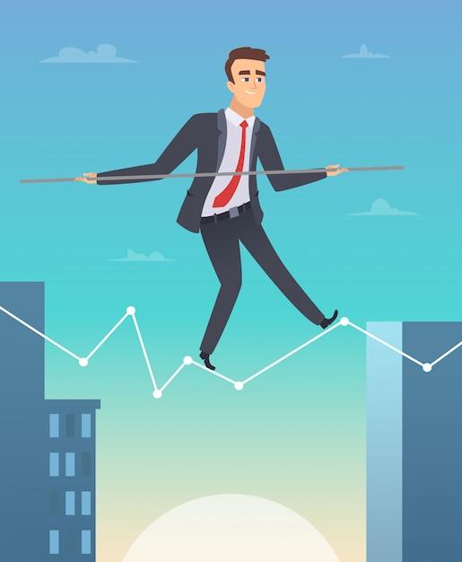 Uomo d'affari che equilibra su un'illustrazione grafica Vettore Premium