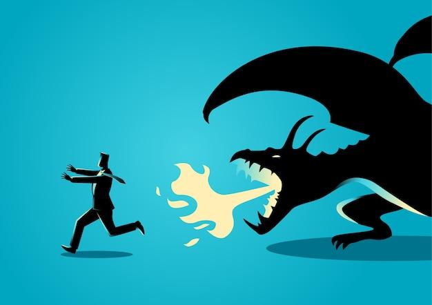 Uomo d'affari che fugge da un drago Vettore Premium
