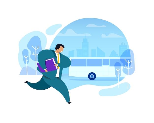 Uomo d'affari che funziona dopo l'illustrazione del bus Vettore Premium