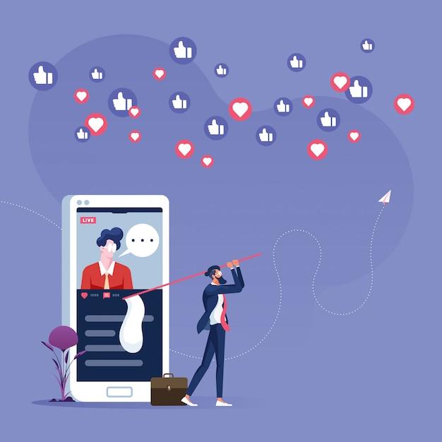 Uomo d'affari che insegue pollice su e concetto icona-sociale di vendita di media del cuore Vettore Premium