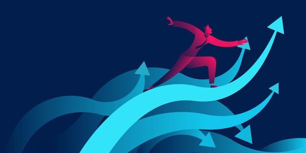 Uomo d'affari che pratica il surfing sulle onde come freccia ascendente. attività di successo o crescita Vettore Premium