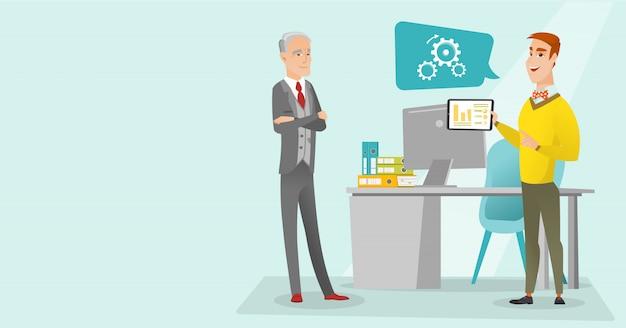 Uomo d'affari che presenta rapporto sulla tavoletta digitale. Vettore Premium