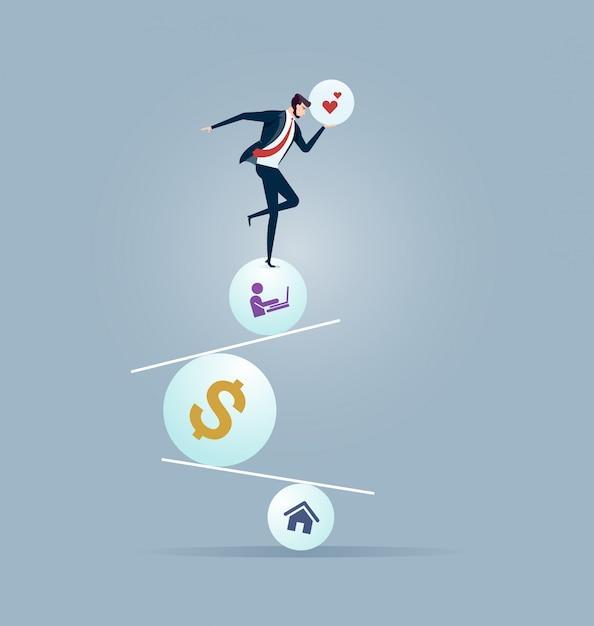 Uomo d'affari che prova ad equilibrare su palla e movimento alternato Vettore Premium