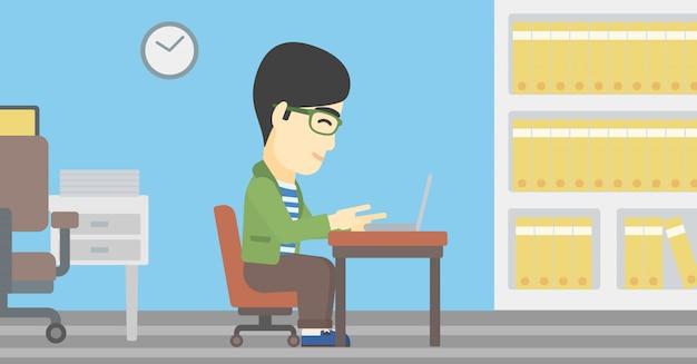 Uomo d'affari che riceve o invia email. Vettore Premium