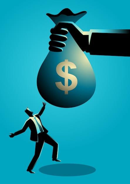 Uomo d'affari che riceve un sacco di soldi enorme Vettore Premium