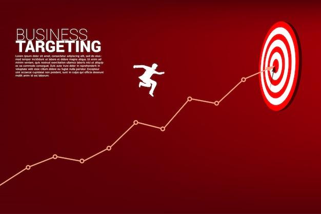 Uomo d'affari che salta sul grafico a linee al centro del bersaglio. Vettore Premium