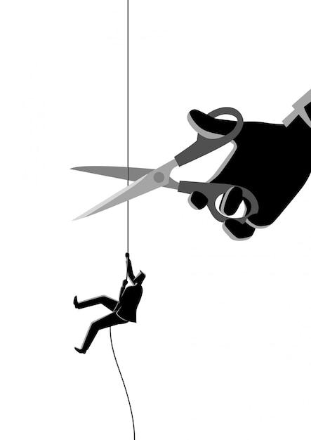 Uomo d'affari che si arrampica sulla corda che è tagliata con le forbici Vettore Premium
