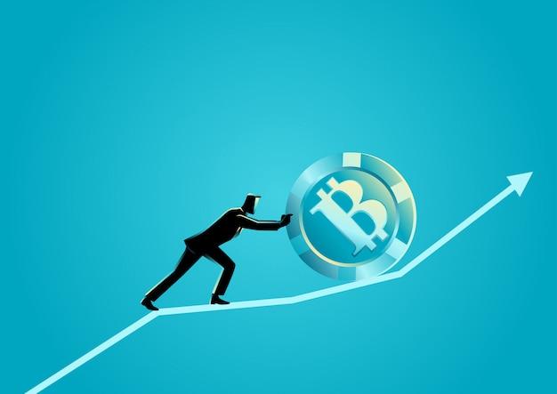 Uomo d'affari che spinge un bitcoin verso l'alto sul grafico grafico Vettore Premium