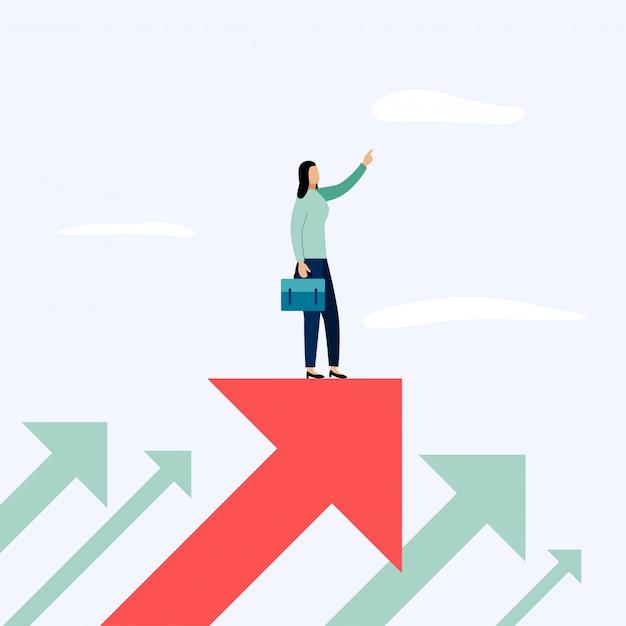Uomo d'affari che sta sulla freccia, illustrazione di vettore dei concetti di affari Vettore Premium