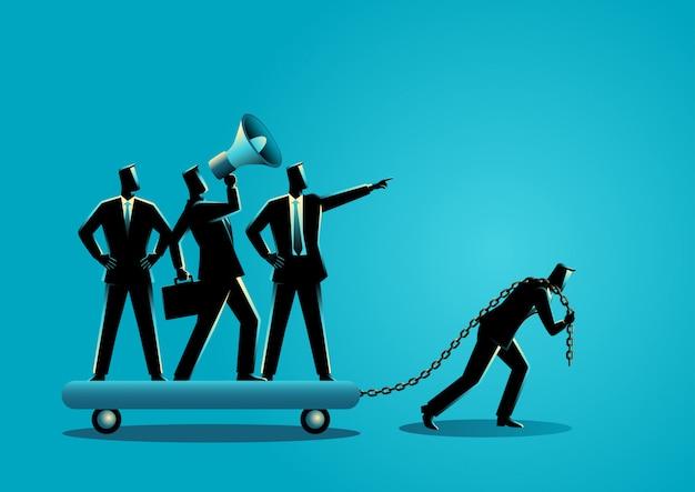 Uomo d'affari che trascina i suoi collaboratori prepotenti Vettore Premium