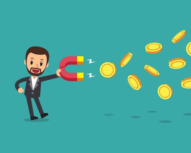 Uomo d'affari che utilizza un magnete per attirare denaro Vettore Premium