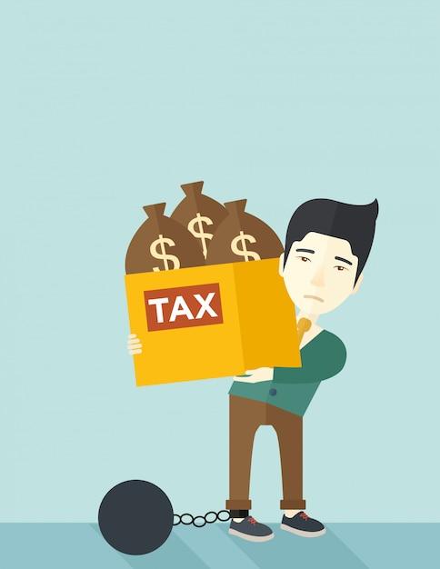 Uomo d'affari cinese bloccato nel debito Vettore Premium