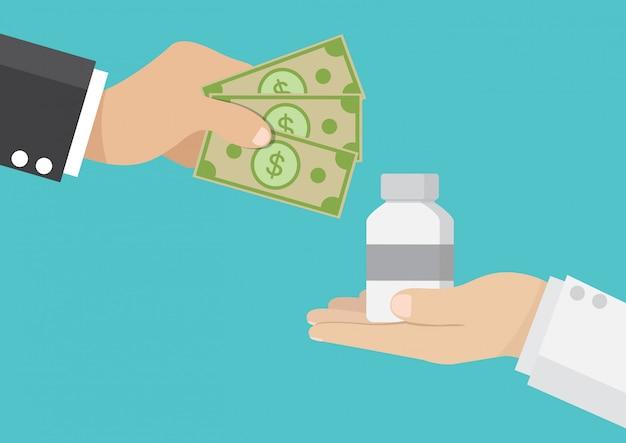 Uomo d'affari comprare farmaci dai medici Vettore Premium