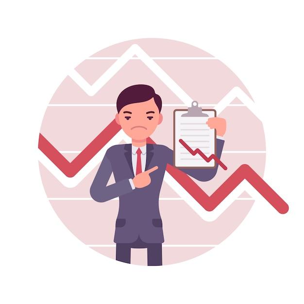 Uomo d'affari con appunti. grafici e grafici negativi Vettore Premium