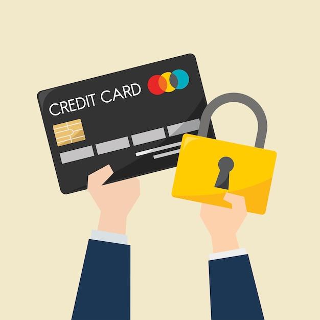 Uomo d'affari con carta di credito e protezione Vettore gratuito