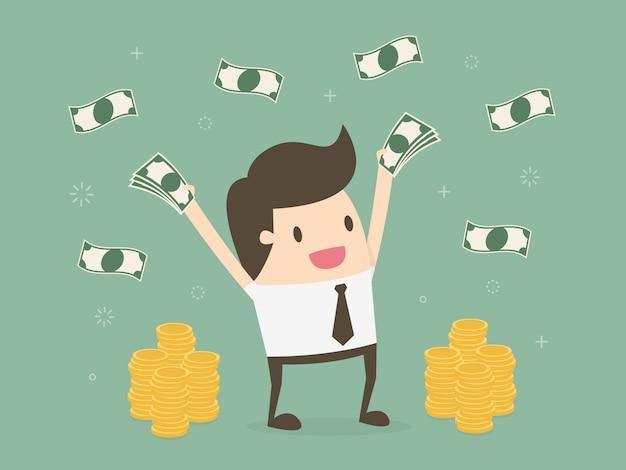 Uomo d'affari con i soldi Vettore gratuito