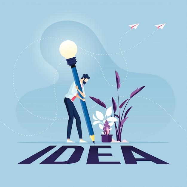 Uomo d'affari con l'idea di scrittura a matita sul concetto creativo di idea del pavimento Vettore Premium