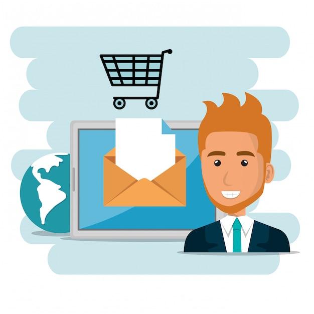 Uomo d'affari con le icone di marketing e-mail Vettore gratuito
