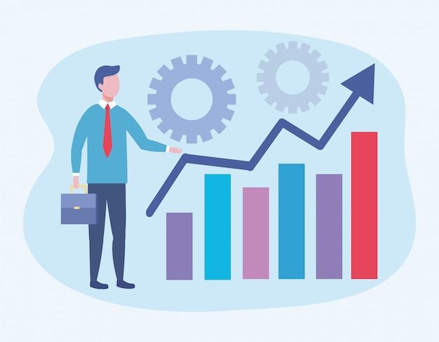 Uomo d'affari con le informazioni della barra di statistiche e ingranaggi Vettore gratuito