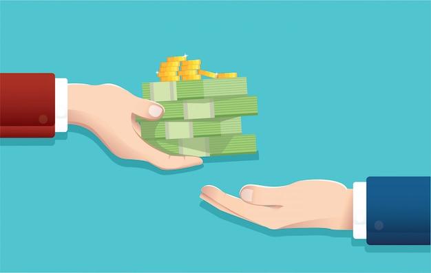 Uomo d'affari dando soldi Vettore Premium