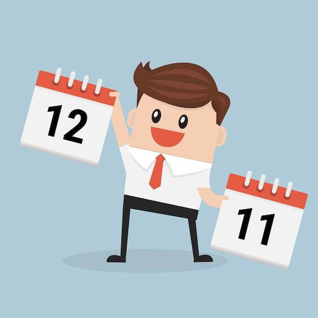 Calendario A Strappo.Uomo D Affari Del Fumetto Che Mostra Il Calendario A Strappo