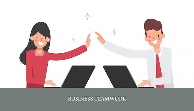 Uomo d'affari e donna d'affari collega personaggio. Vettore Premium