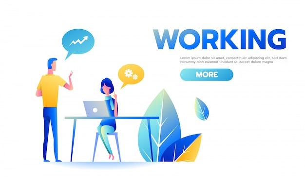 Uomo d'affari e donna di affari che lavorano insieme discutendo strategia aziendale alla scrivania Vettore Premium
