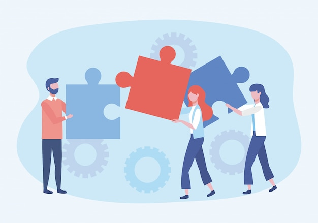 Uomo d'affari e donne d'affari con connessione di puzzle e ingranaggi Vettore gratuito