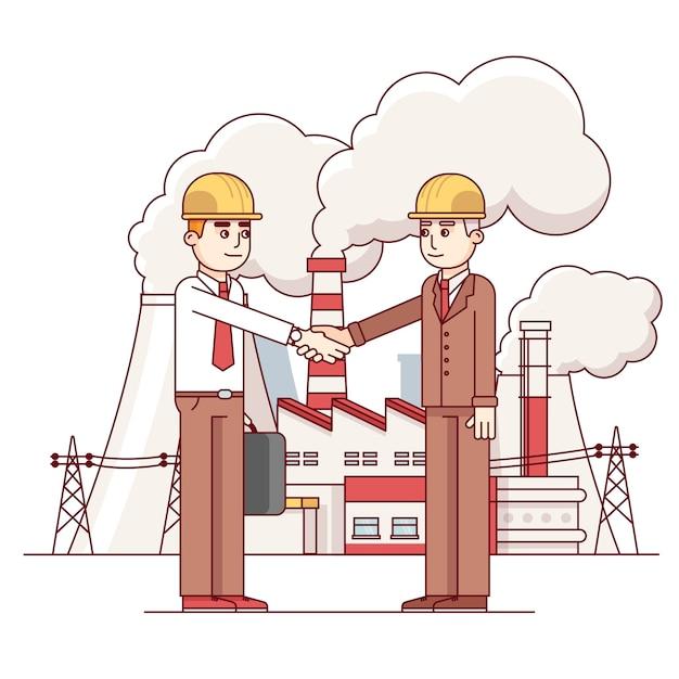 Uomo d'affari e ingegnere stringe la mano Vettore gratuito