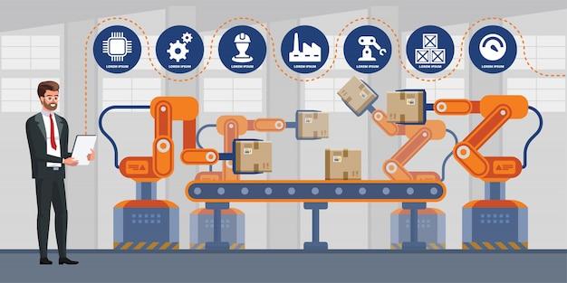 Uomo d'affari facendo uso della compressa per controllare la macchina del braccio del robot di automazione nell'industriale astuto della fabbrica. infografica industria 4.0. Vettore Premium