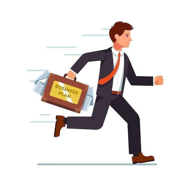 Uomo d'affari in esecuzione con il piano aziendale in valigia Vettore gratuito