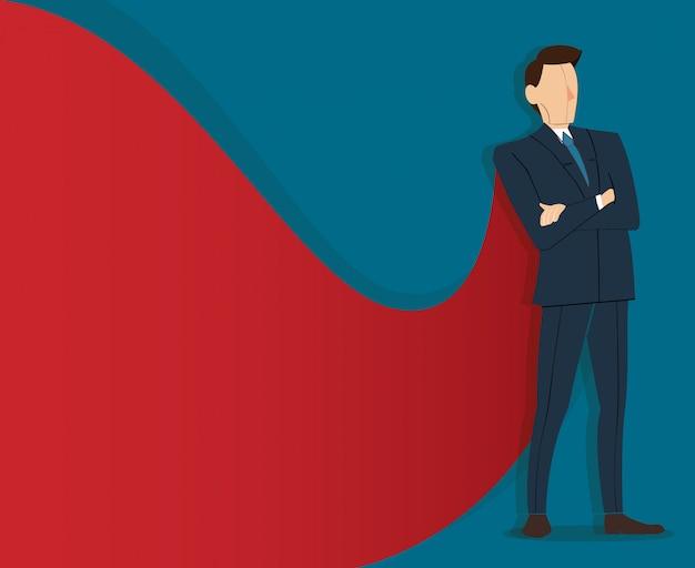 Uomo d'affari in piedi con mantello rosso Vettore Premium