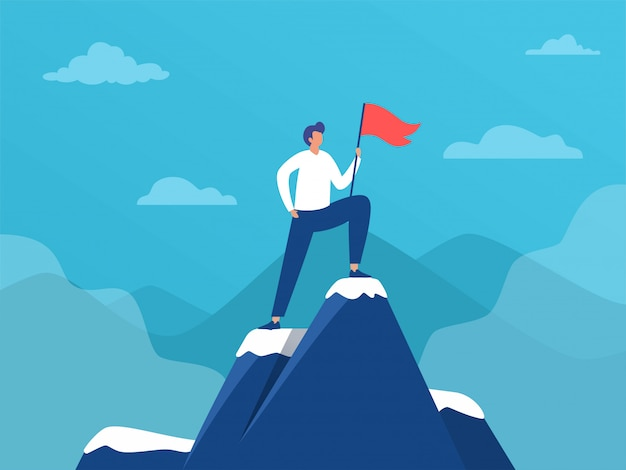 Uomo d'affari in piedi sulla cima della montagna con bandiera, leadership di successo, illustrazione, persone raggiungono l'obiettivo, landing page, template, interfaccia utente, web, homepage, poster, banner, flyer Vettore Premium