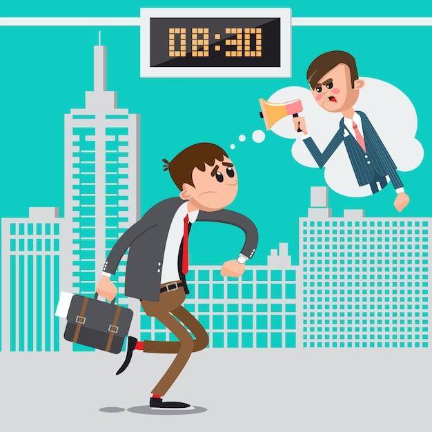 Uomo d'affari in ritardo per lavoro. boss arrabbiato che grida in megafono. man hurry to work. illustrazione vettoriale Vettore Premium