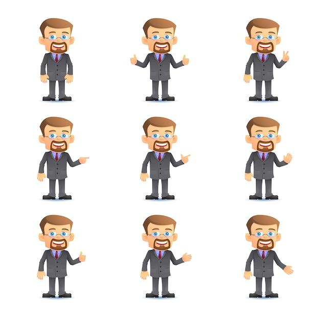 Uomo d'affari in serie di varie pose Vettore Premium