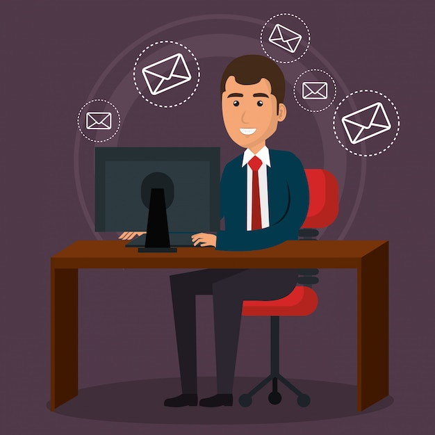 Uomo d'affari in ufficio con icone di marketing e-mail Vettore gratuito