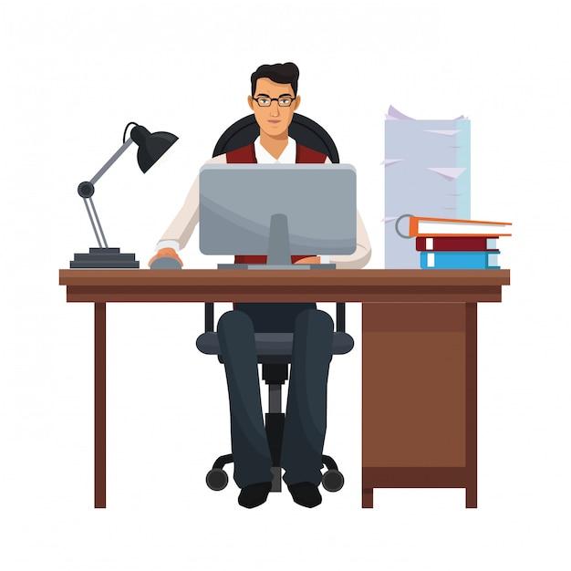 Uomo d'affari in ufficio Vettore Premium
