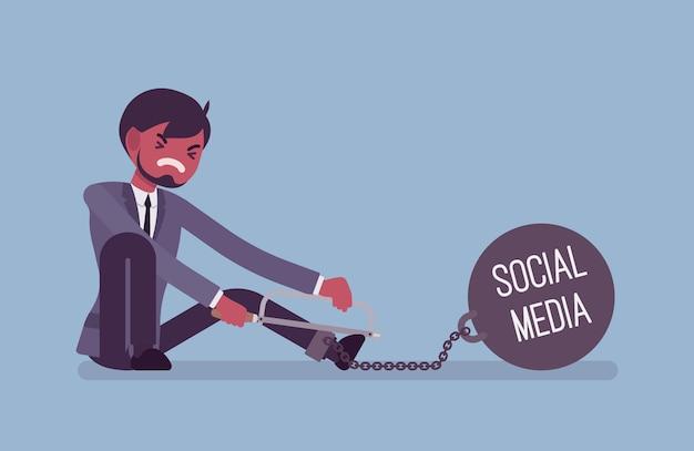 Uomo d'affari incatenato con un peso metallico social media, segatura Vettore Premium
