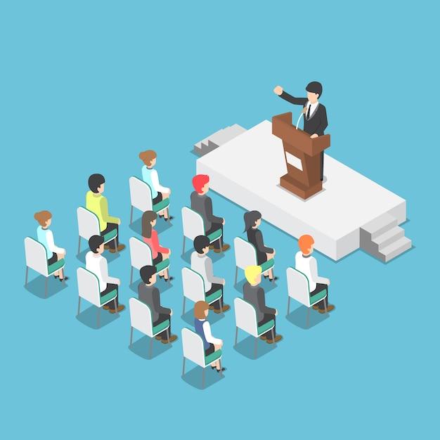 Uomo d'affari isometrico che parla ad un podio in una conferenza Vettore Premium
