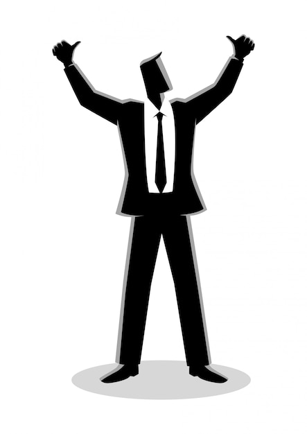 Uomo d'affari mani in alto Vettore Premium