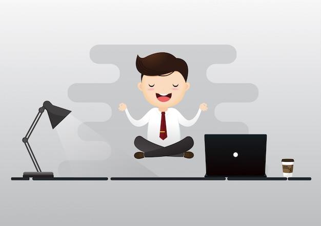 Uomo d'affari meditation concept Vettore Premium