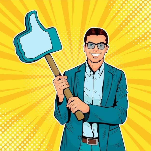 Uomo d'affari pop art con gesto simile sul bastone di legno Vettore Premium