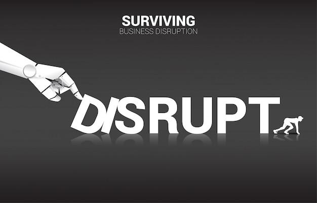 Uomo d'affari pronto a scappare dall'effetto domino dalla mano del robot, interrompere lo sfondo Vettore Premium