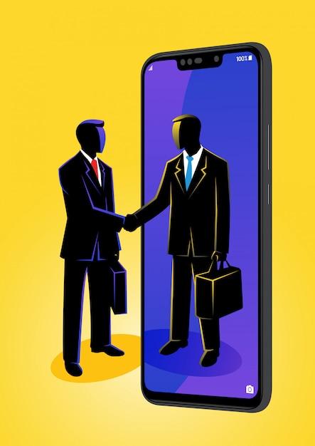 Uomo d'affari si stringono la mano Vettore Premium