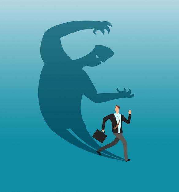 Uomo d'affari spaventato che fugge nel panico dalla propria ombra. concetto di affari di vettore di conflitto e di ansia Vettore Premium