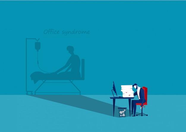 Uomo d'affari stanco all'ufficio con ombra Vettore Premium