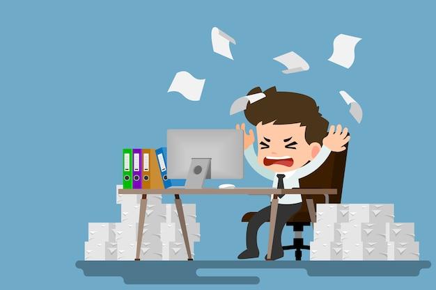 Disegno Uomo Alla Scrivania : Uomo d affari stanco e stress alla scrivania da un sacco di lavoro