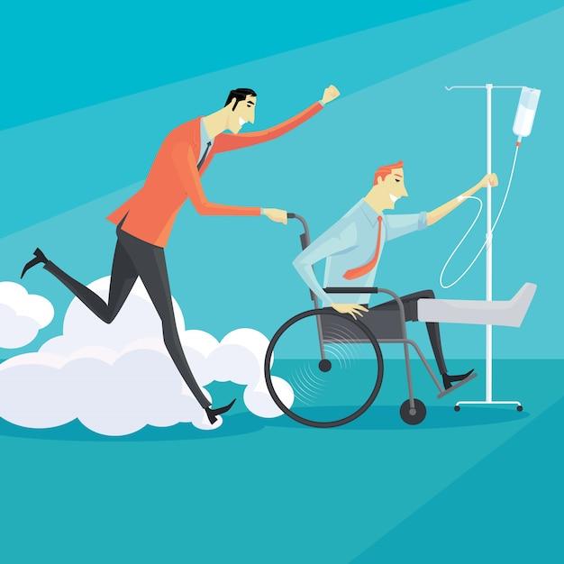 Uomo d'affari sulla sedia a rotelle di un ferito | Vettore